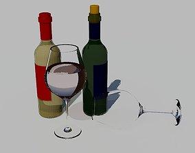 3D bottles of wine