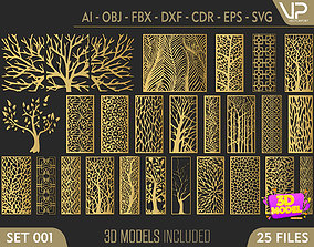 25 Decorative panels 3D model SET 001 illustration