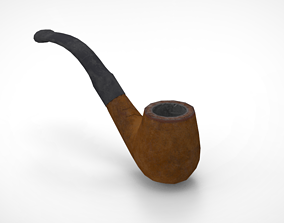 3D asset Low Poly Wooden Smoking Pipe
