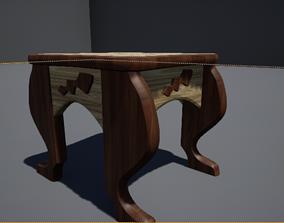 Solid wood stool 3D model