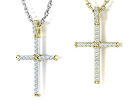 Diamond Cross Necklace Two-Tone Classic Pendant