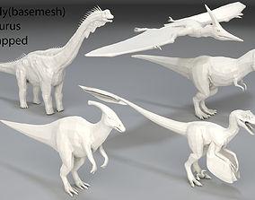 Dinosaur-5 peaces-low poly-part 6 3D asset game-ready