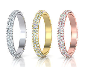 Full Eternity 3 Row Diamond band ring 3D printable model