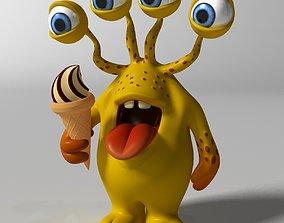 Cartoon Yellow Monster Rigged 3D asset VR / AR ready