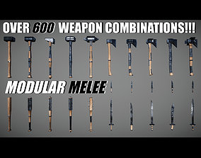 3D model low-poly Modular Melee - All Weapons Pack