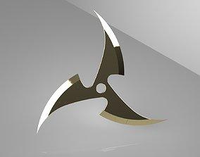 Ninja Star 3 blades One sided 3D printable model
