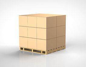 3D Cardboard boxes and pallet