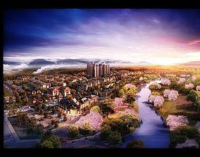 Luxury city block near a river 005 3D