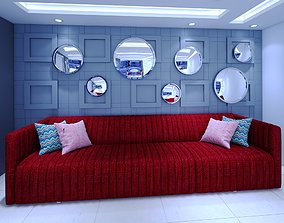 interior feature wall and sofa 3D asset