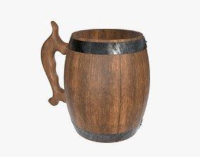 Beer mug wooden 02 3D