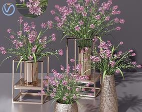 Pink lilac Bouquet Pot 3D