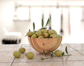 Olive and branch 3D asset