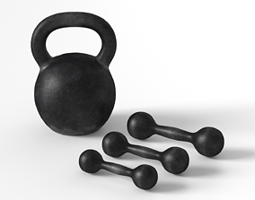 Kettlebell and Dumbbell 3D model