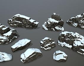 snow rocks 3D model low-poly