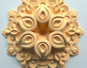 Architectural decorative rosette with carving in 3D 2