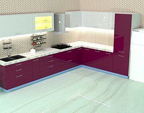 Modular kitchen 3D interior
