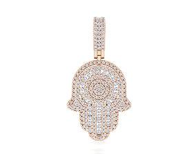 gold 3D print model Hamsa pendant