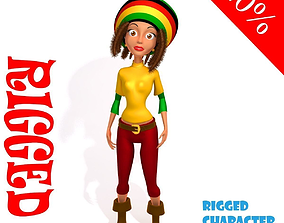3D model Rastafari girl cartoon rigged