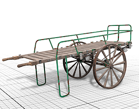 3D asset old luggage barrow