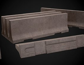 3D asset Simple concrete barricade