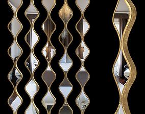 Single Gold Teardrop Panel Mirror 3D model