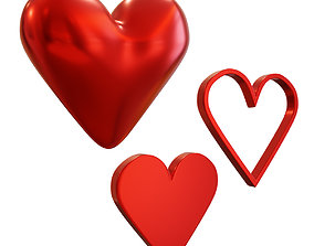 Simple Cartoon Heart many Models 3D asset