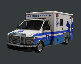 3D model Vehicle Ambulance Rescue Truck Game Ready 01