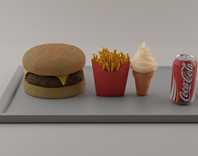 3D model junk-food burger
