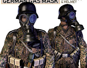 German Gas Mask and Helmet WWII 3D