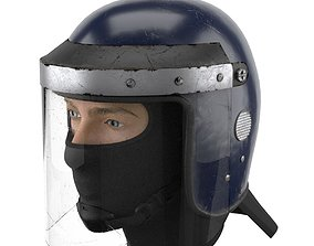 3D Used Police Riot Helmet with Glass Visor