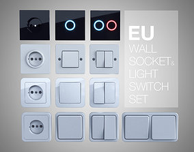 3D EU wall socket and light switch set