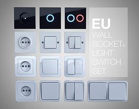 3D EU wall socket and light switch set