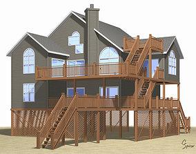 3D Summer Beach House Exterior 01