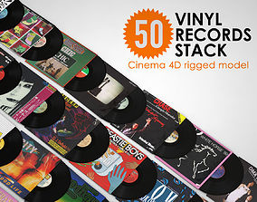 50 Vinyl Records Stack rigged 3D model