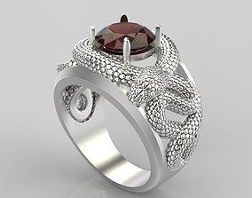 3D print model Design gemstone ring with snakes