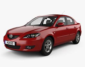 3D model Mazda 3 sedan with HQ interior 2003
