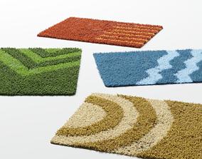 3D model bathroom rugs 4 colors