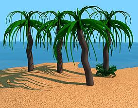 Low Poly cartoon Palm Tree 3D model