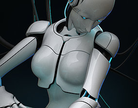 rigged Female Cyborg 3D model
