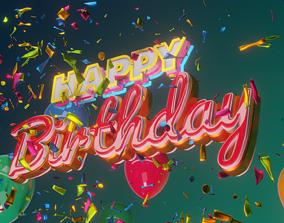 Happy Birthday Message Animation 3D model