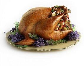 Roast Turkey With Garnishings 3D