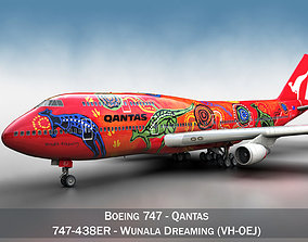 3D Boeing 747 - Qantas Wunala Dreaming