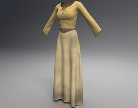 Dusty Tan Peasant Dress - Collection 02 3D model