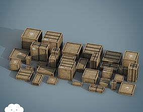 PBR 33 Wooden Crate Pack 3D model VR / AR ready