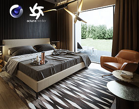 Bedroom Interior Scene for Cinema 4D and Octane 3D model