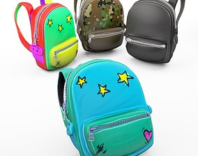 3D model Backpack school cartoon rigged