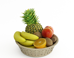 3D model wicker vase with fruit