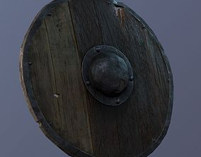 Damaged medieval shield low poly gameready model realtime