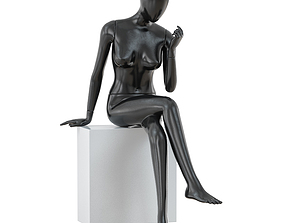 Abstract sitting woman mannequin 02 3D model