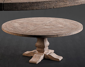 RH Salvaged Wood Round Dining Table 3D